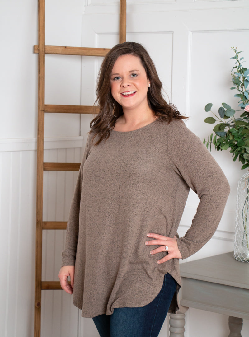 Toffee Scoop Neck Sweater
