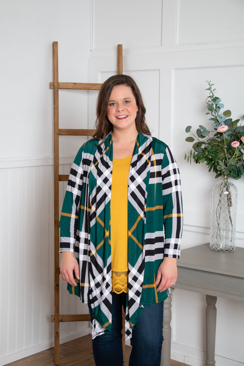 Plaid Slinky Cardigan