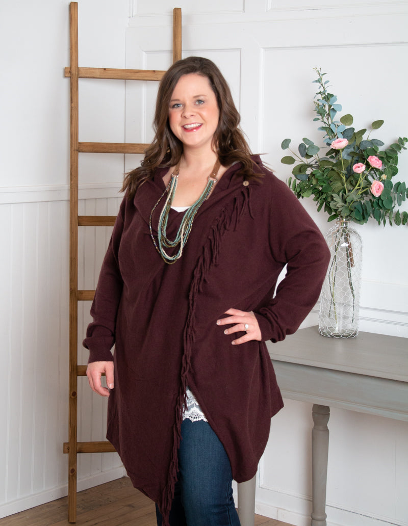 Sweater Wrap Cardigan - Wine