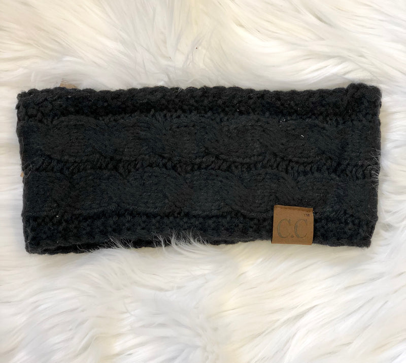 C.C Fleece Lined Headband- Black