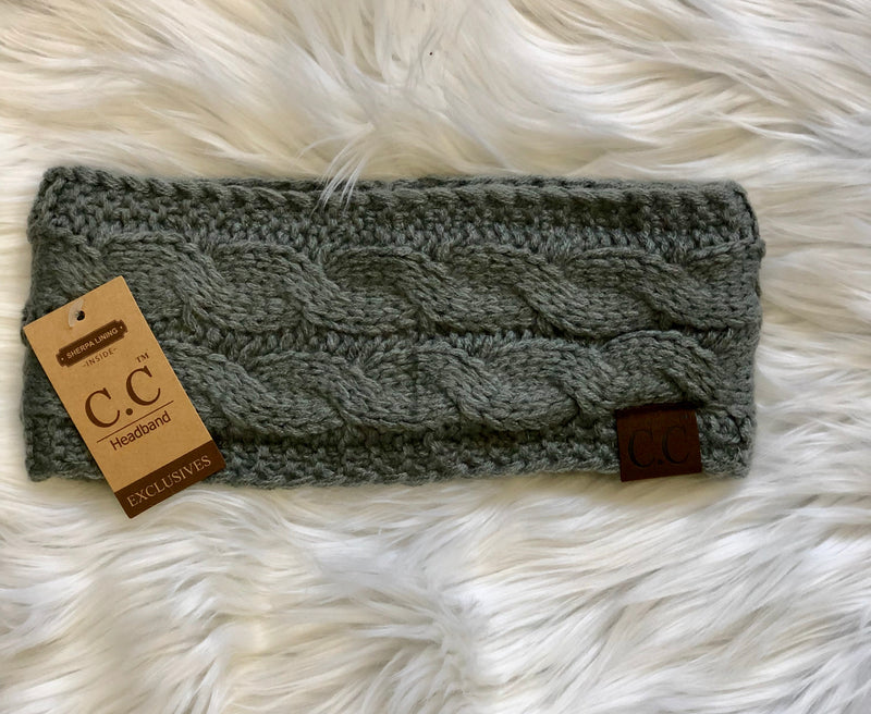 C.C Fleece Lined Headband- Light Gray