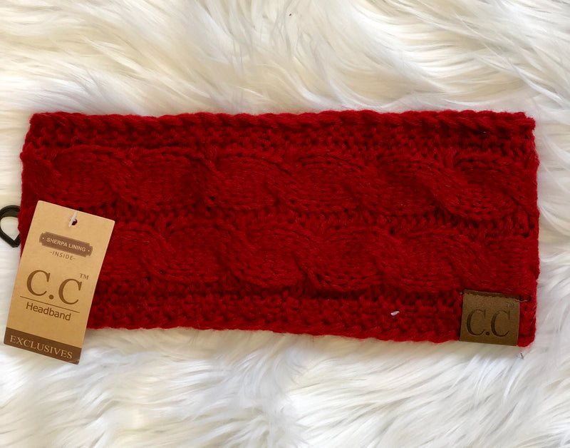 C.C Fleece Lined Headband- Red