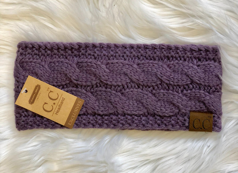 C.C Fleece Lined Headband- Dusty Purple