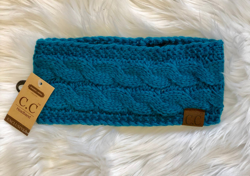 C.C Fleece Lined Headband- Teal