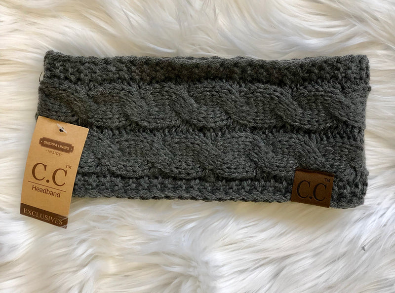 C.C Fleece Lined Headband- Charcoal
