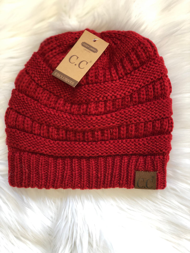 C.C Fleece Lined Beanie - Red