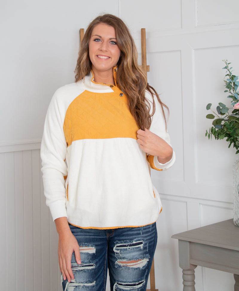 Button Accent Fleece Pullover - Mustard