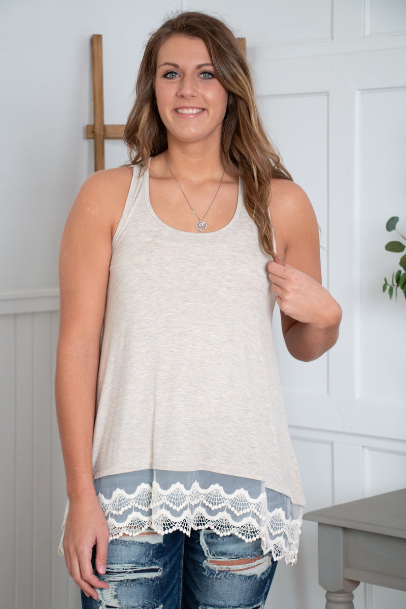 Oatmeal Layering Tank with Lace