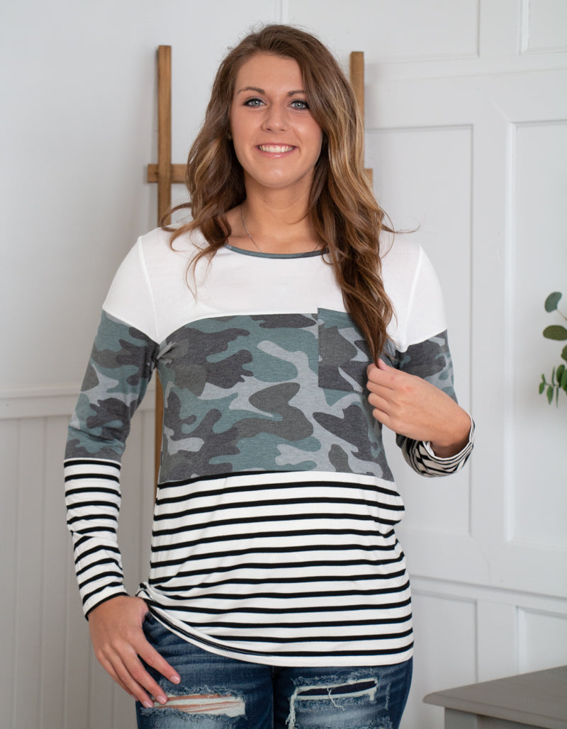 Camo Color Block Top