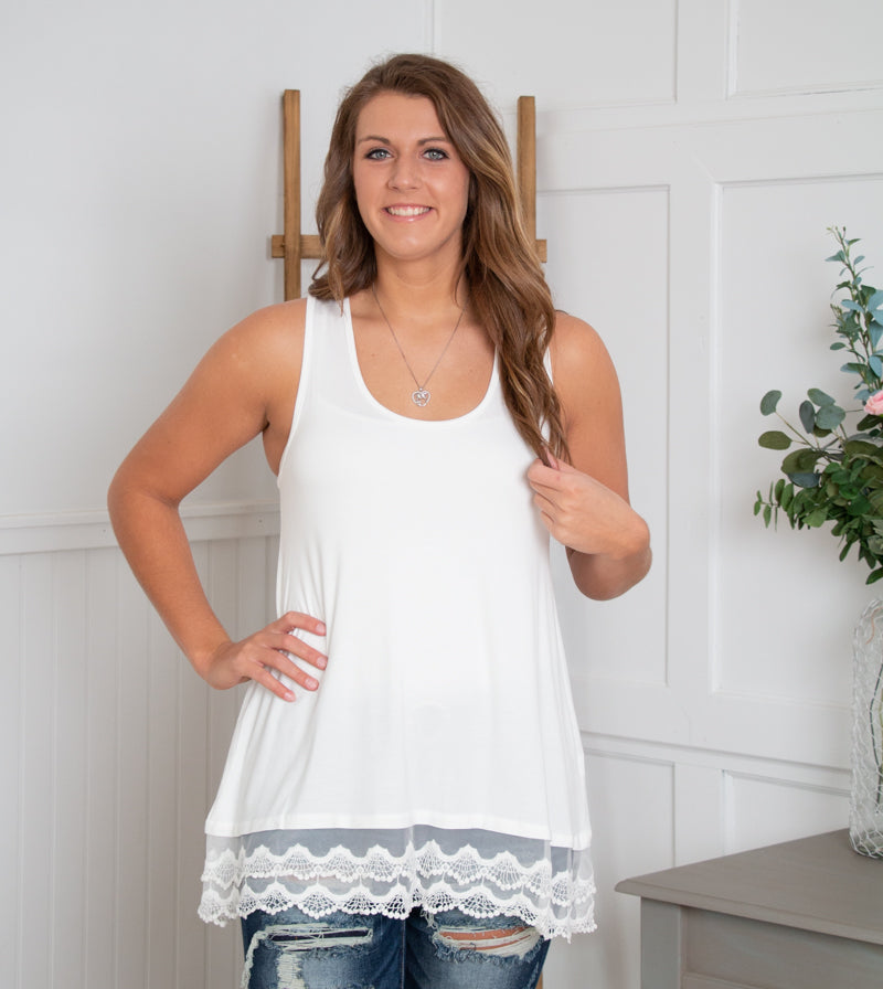 Ivory Layering Tank with Lace