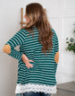 Emerald Green Striped Cardigan