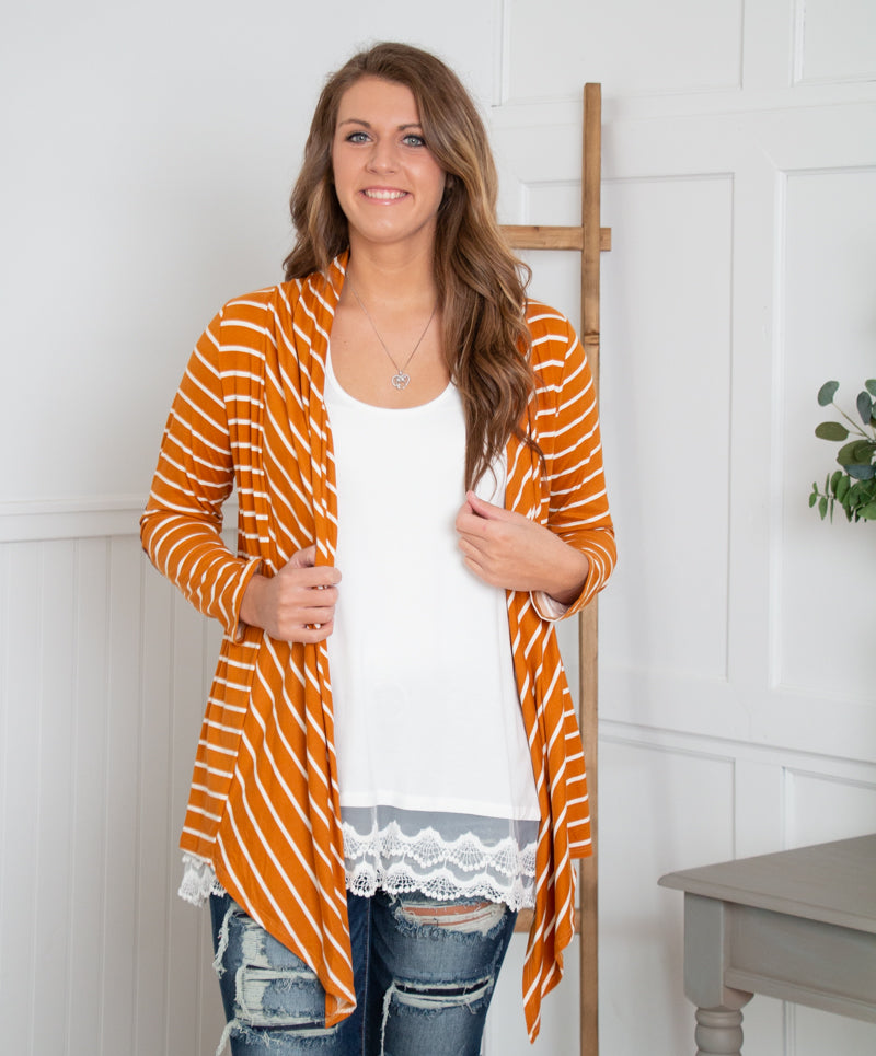 Sweet Potato Striped Cardigan