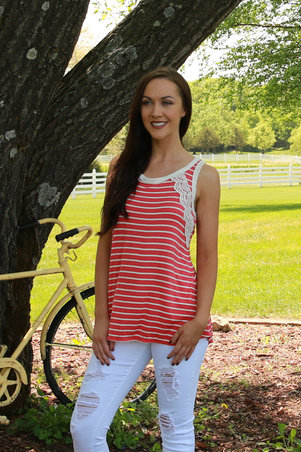 Striped Corset Tank-Coral