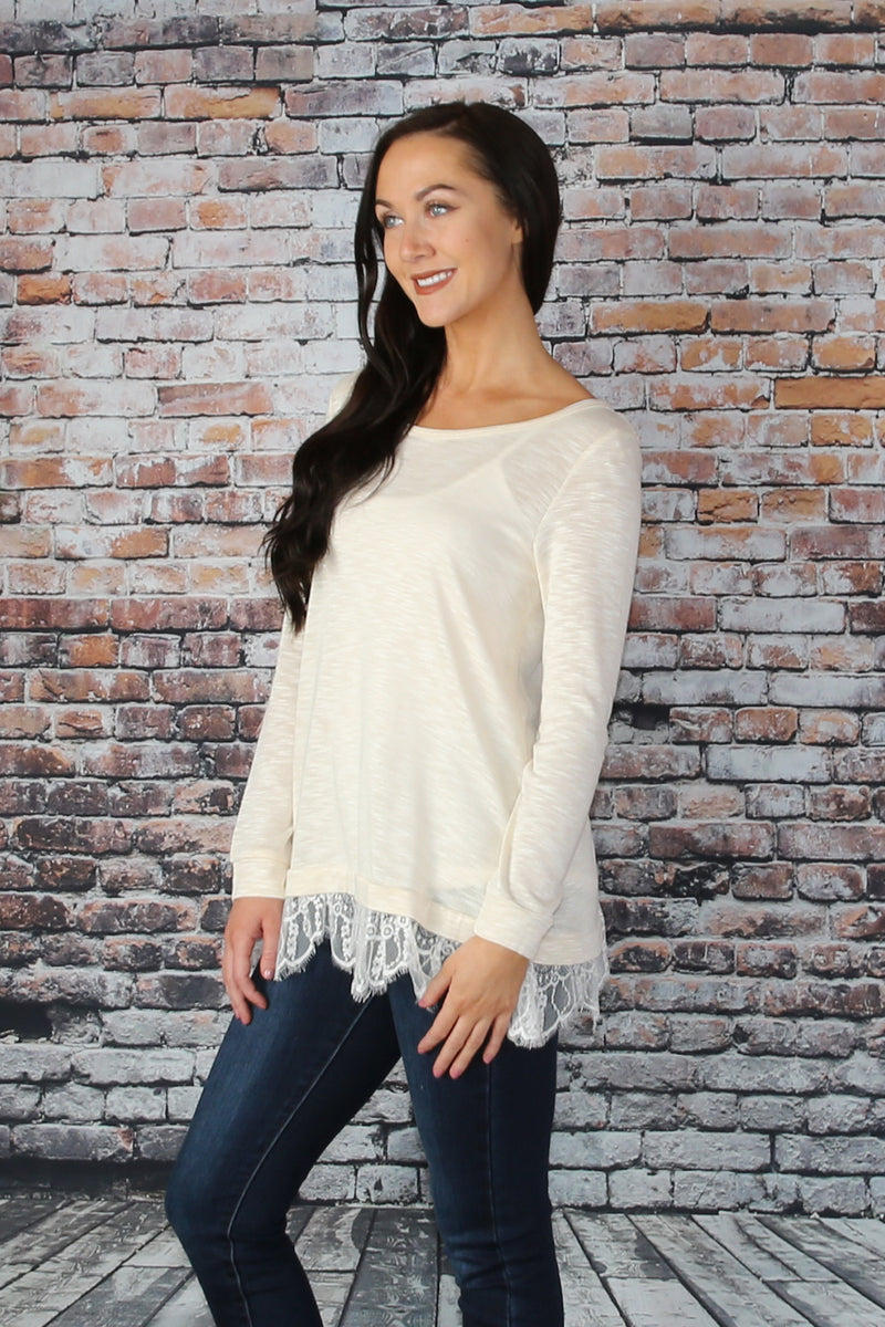 Oatmeal Tunic with Lace Trim