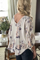 ivory blush smoke rolled sleeve blouse