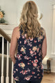 floral side knot tank navy