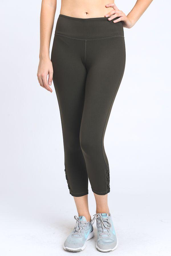 OLIVE COLOR CRISS-CROSS SIDE CALF LEGGINGS