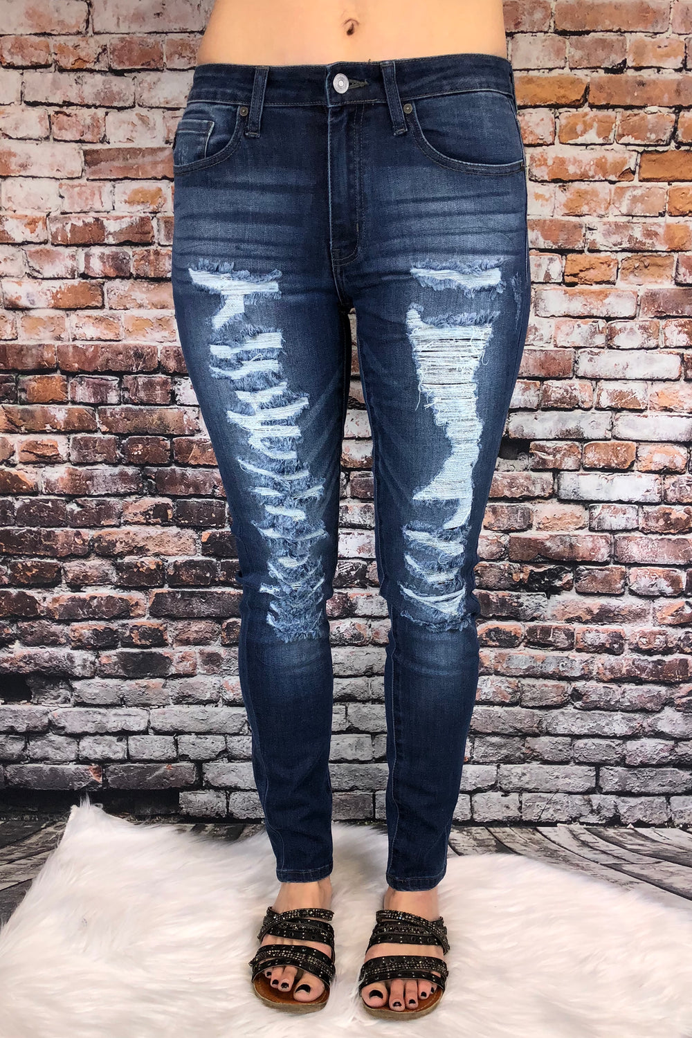 Medium Wash Distressed Denim by KanCan