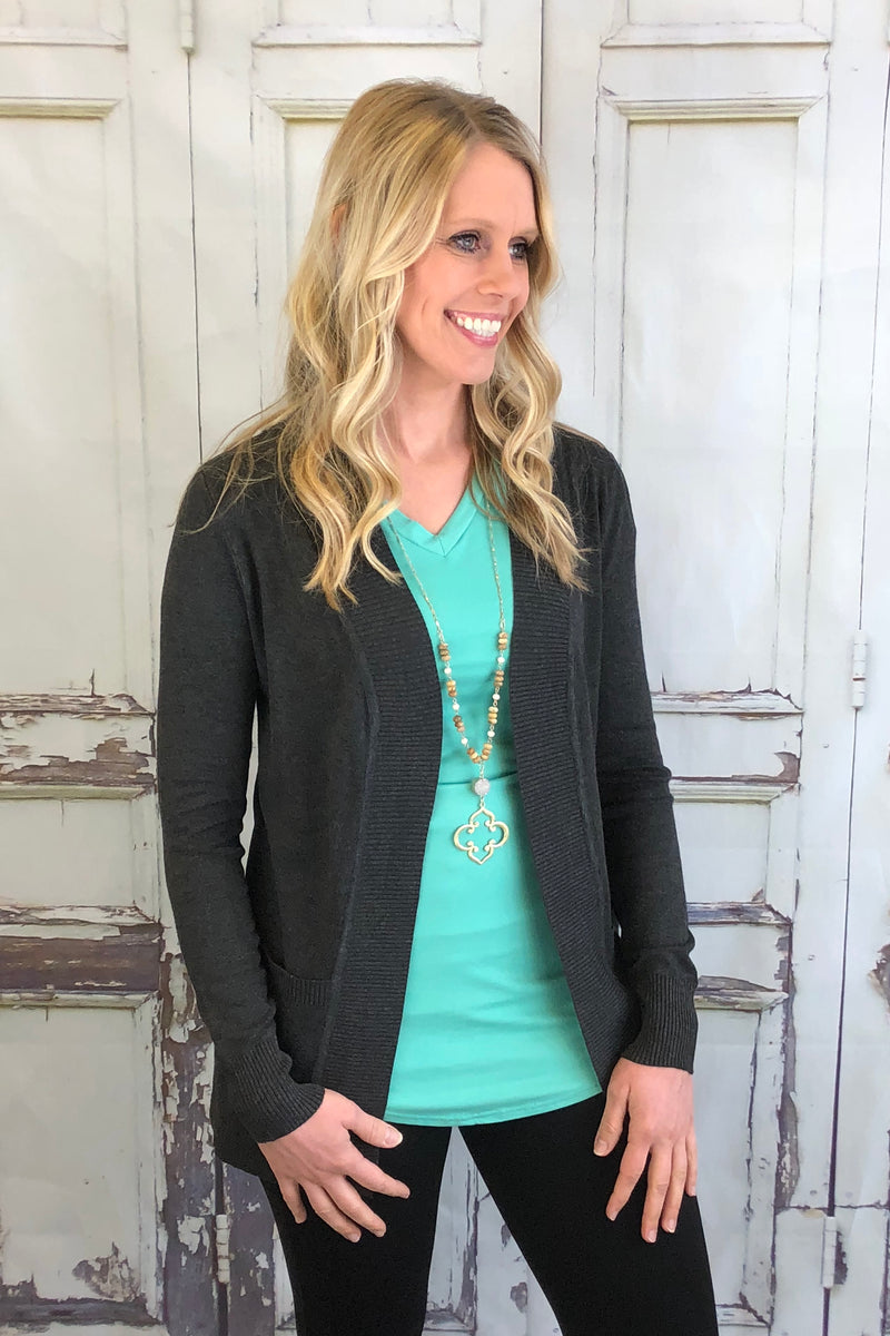 Soft Stretch Cardigan - Charcoal