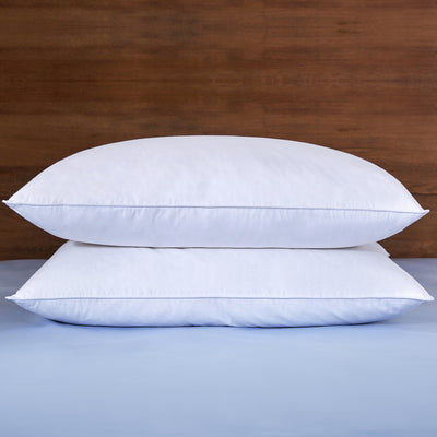 2 Pack White Goose Feather Pillows for Sleeping, White, Standard and Queen Size