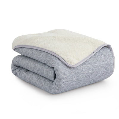 Diamond Knit and Sherpa Reversible Blanket, Cozy Warm Blanket for Winter Machine Washable