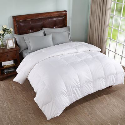All Seasons White Goose Down Comforter  600 Fill Power, Baffled Box Duvet Insert or Stand-Alone Comforter, 100% Cotton Cover