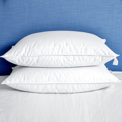 2 Pack White Goose Down Feather Pillows for Side and Back Sleepers, Pillow-in-a-pillow Design