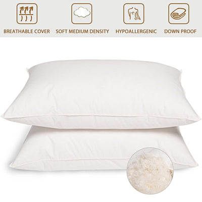 2 Pack White Goose Feather Pillows, Feather Pillows for Sleeping