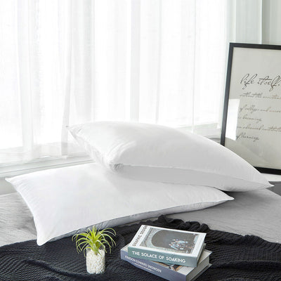2 Pack White Down Pillows for Sleeping with 100% Cotton Cover