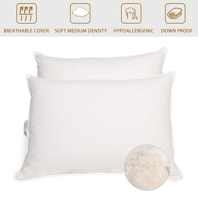 2 Pack Goose Feather Pillows for Side and Back Sleepers, Machine Washable Pillow Insert