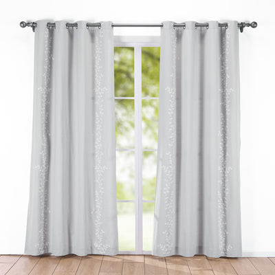 Puredown - 2PCs Decorative Embroidered Nature/Floral Semi-Sheer Grommet Curtain Panels