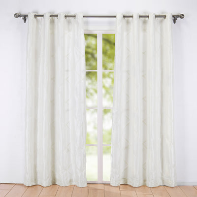Puredown - Embroidered Rhombic Geometric Semi-Sheer Grommet Curtain Panels 2PC
