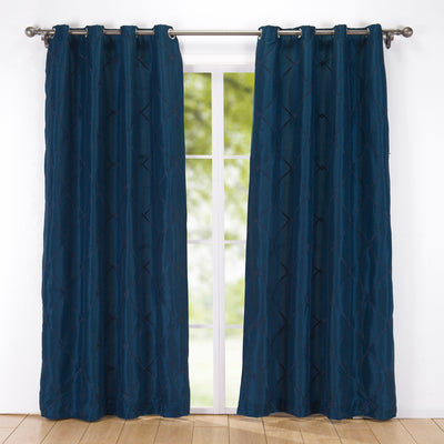 2 PCs Embroidered Rhombic Geometric Semi-Sheer Grommet Curtain Panels