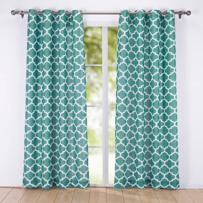 2PC Decorative Window Geometric Semi-Sheer Grommet Curtain Panels