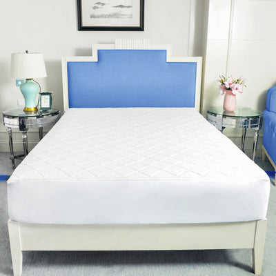 PUREDOWN Memory Foam Mattress Pad Topper, Diamond Quilting, White