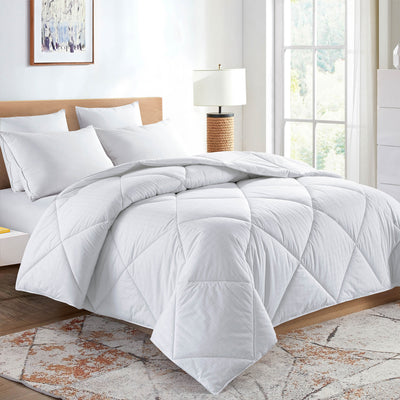 PUREDOWN - Down Alternative Comforter, Duvet Insert, 450 Thread Count, 100% Cotton Squared Jacquard Fabric , White - Puredown