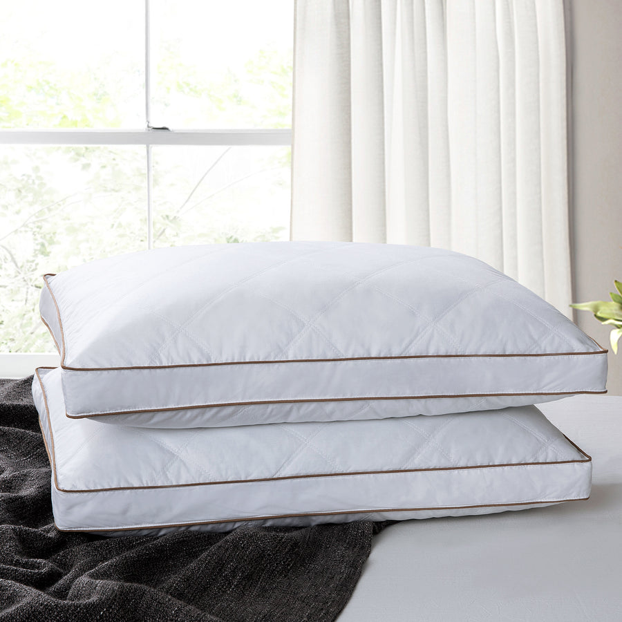 2 Pack Firm Feather Pillows for Side and Back Sleepers 100% Cotton Cover Downproof Fabric