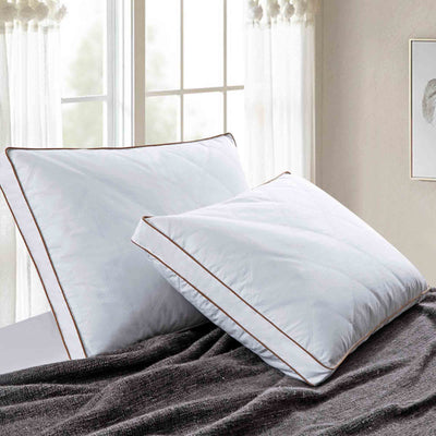 PUREDOWN - Goose Down Feather Pillows, Cotton Pillow Cover, Set of 2