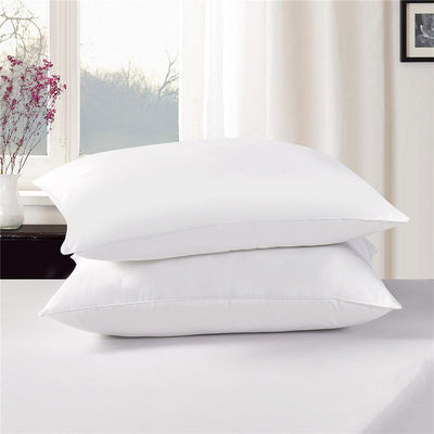 PUREDOWN Natural White Down Feather Pillow for Sleeping Standard Queen Size, 233 TC, White, Set of 2