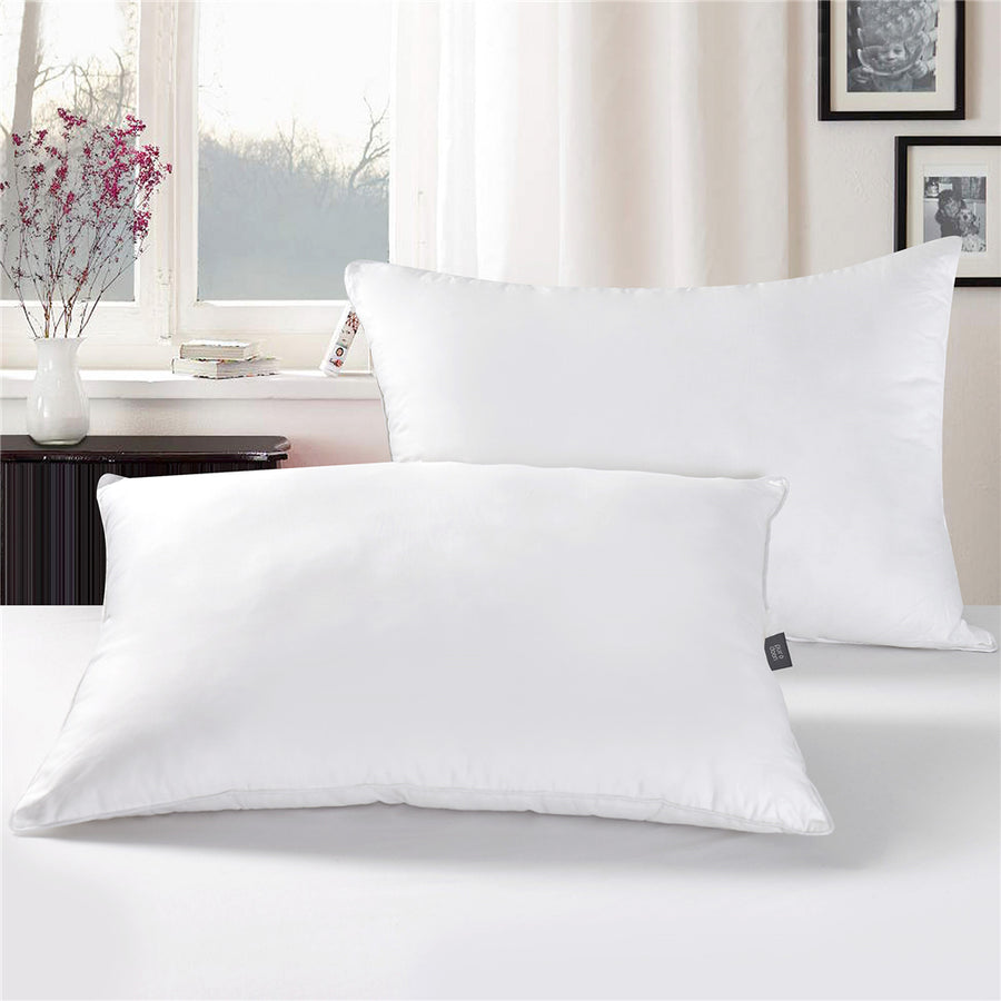 2 Pack Natural White Down Feather Pillow for Sleeping