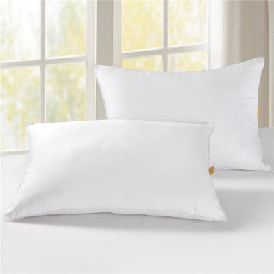 PUREDOWN 50% Down & 50% Feather Bed Pillows, 300 TC, 100% Cotton Cover,White, 2 Pack