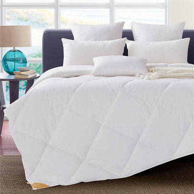 White Goose Down Comforter, Lightweight Duvet Insert, 100% Cotton Fabric