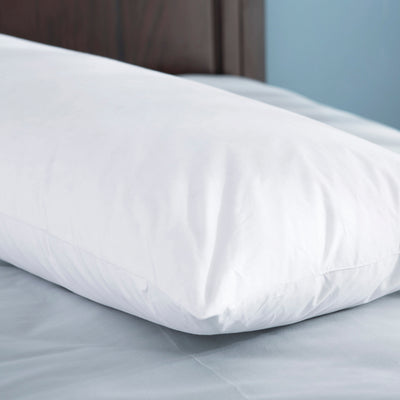 PUREDOWN 30% White Goose Down & 70% White Goose Feather Body Pillow, 100% Cotton Cover, White