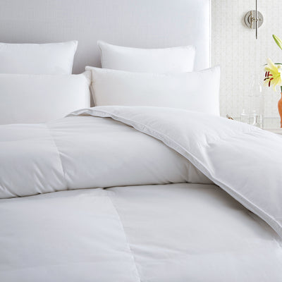 PUREDOWN - Premium Goose Down & Feather Comforter, 700 Thread Count, 600 Fill Power, White - Puredown