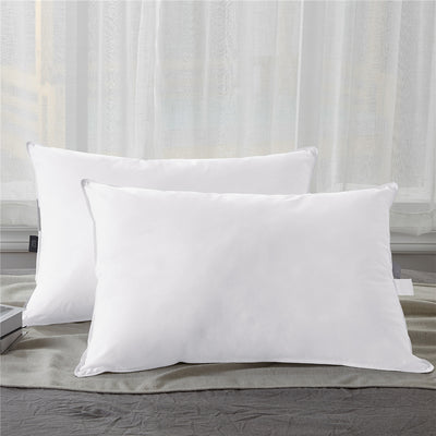 PUREDOWN - White Down Pillow, 100% Cotton Fabric Cover, Set of 2 - Puredown