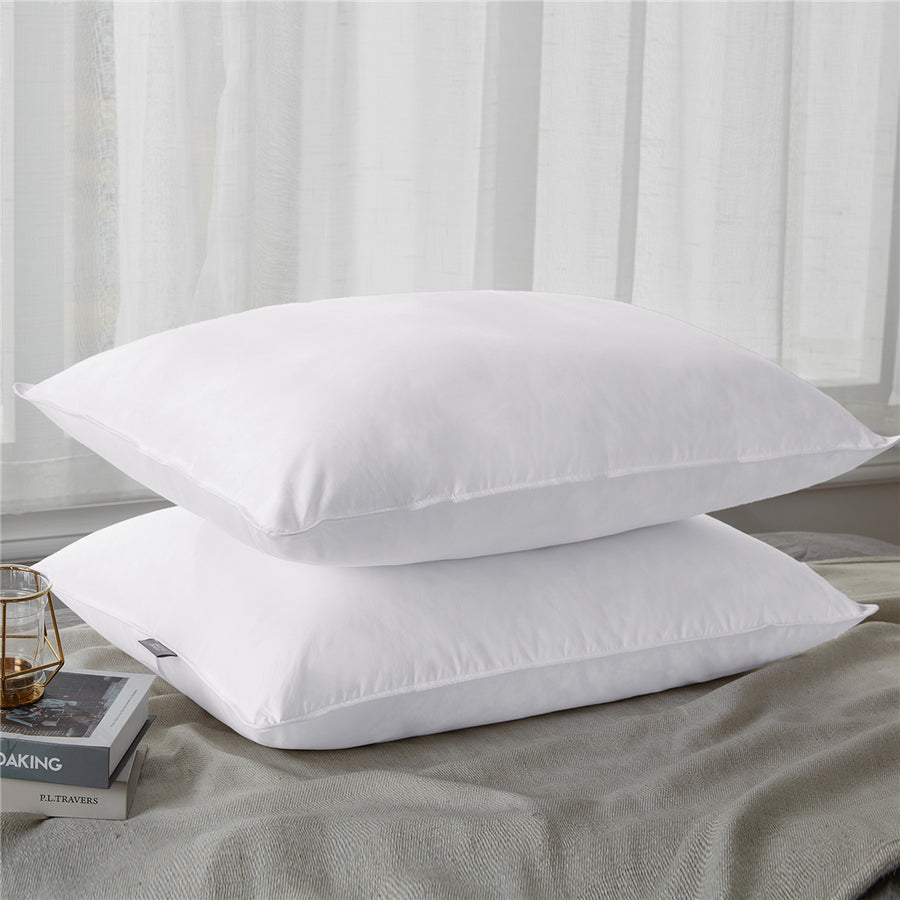 2 Pack Premium Soft Down Pillows 100% Cotton Fabric Cover