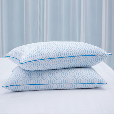 2 Pack White Goose Down Feather Pillow with Ice Silk Pillowcase for Summer