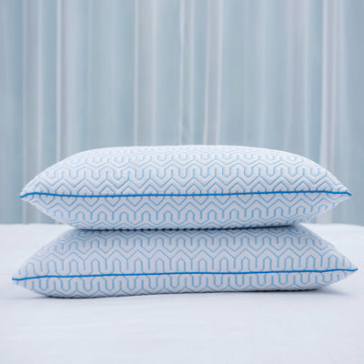 PUREDOWN - White Goose Down Feather Pillow with Cool Ice silk fabric for Summer, Set of 2