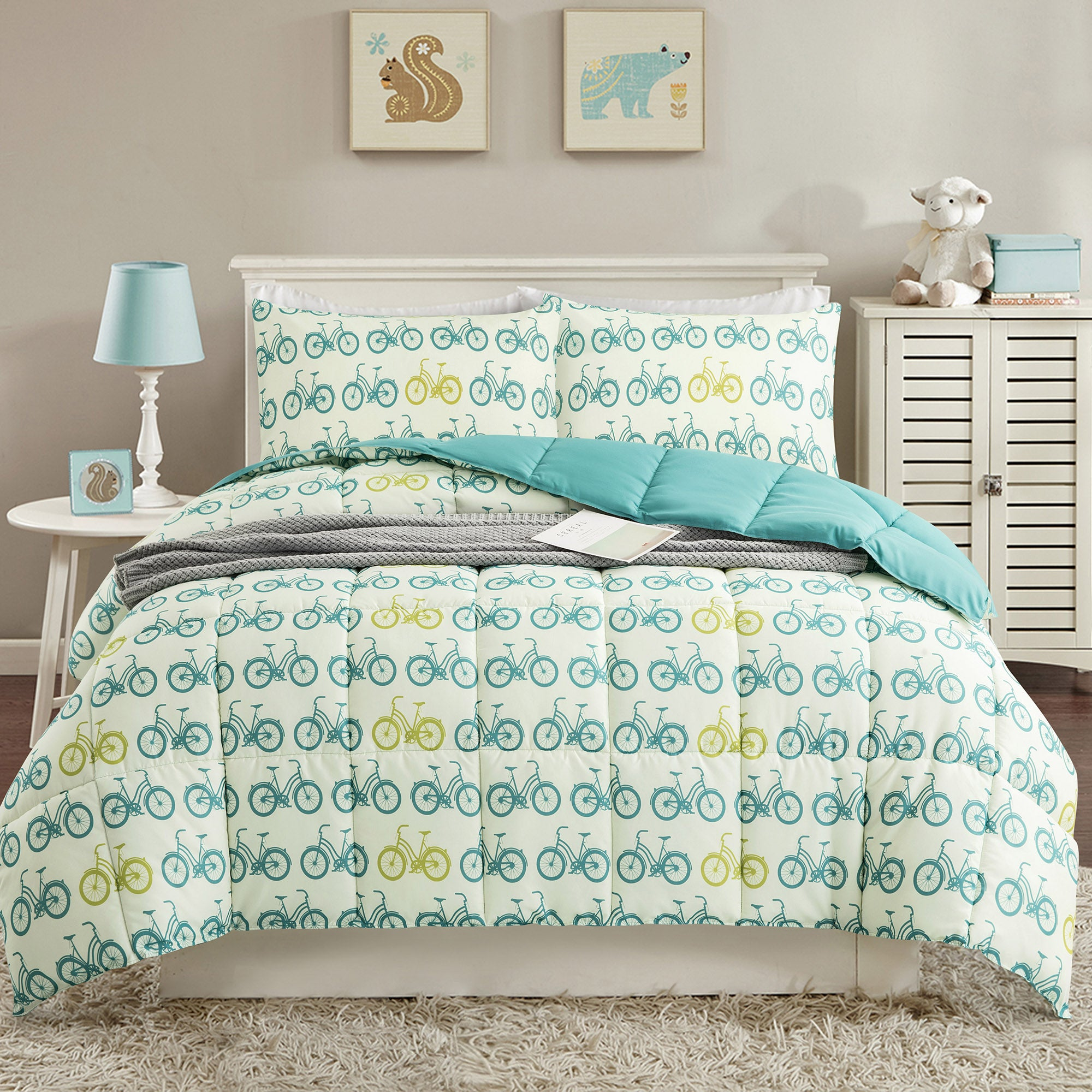 All Season Bicycle Pattern Reversible Down Alternative Comforter Set
