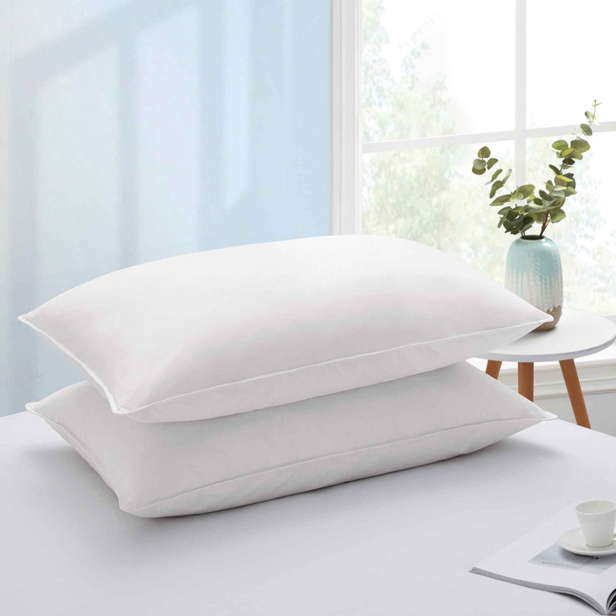 ed7d69a9bc5d6 PUREDOWN 2 Pack White Goose Feather Pillows for Side and Back Sleepers,  100% Cotton